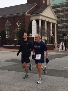 Senator Carper and his son finishing the race