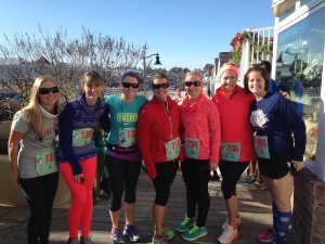 Some members of our local Moms Running Group at the Surfin' Snowman 5-Miler.