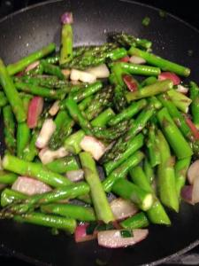 asparagus and radishes