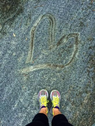 a heart shape mark I found while running the trail