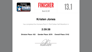 finishers cert.