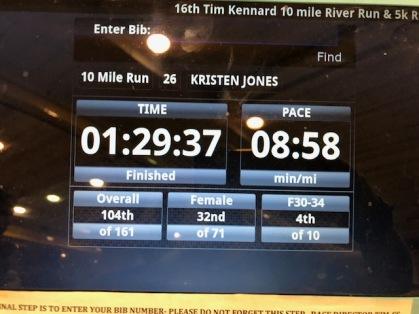 Tim Kennard Ten Miler Finish Time
